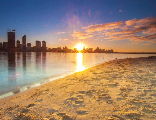 Western-Australia---Golden-Sunrise-View-of-Perth-Skyline-from-Swan-River