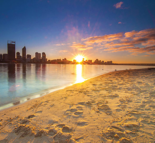 Western-Australia---Golden-Sunrise-View-of-Perth-Skyline-from-Swan-River